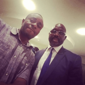Actor Emeka Ike Takes A Selfie With Football Legend, George Weah, Endorses Him As Next Liberian President